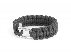 Bransoletka PARACORD 22 mm z szeklą Black
